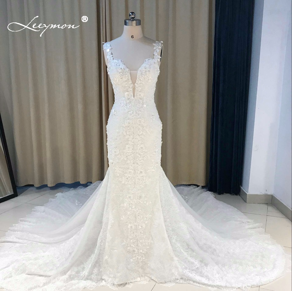 Leeymon 2019 Custom Made Sexy Charming Applique Bridal Gowns Mermaid Lace Wedding Dress Backless Trumpet Bridal Dress Plus Size 貓 帳篷