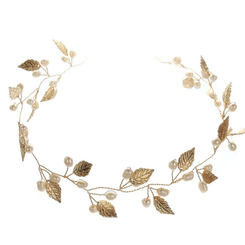 Oro perla hoja diadema banda para el cabello tiaras y coronas casco - Bisutería - foto 4
