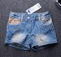 Venda Marca de moda estilo verão PRÓXIMA leopardo patchwork meninas Do Bebê calções demin shorts para meninas crianças bebe jeans para criança 2-10Y