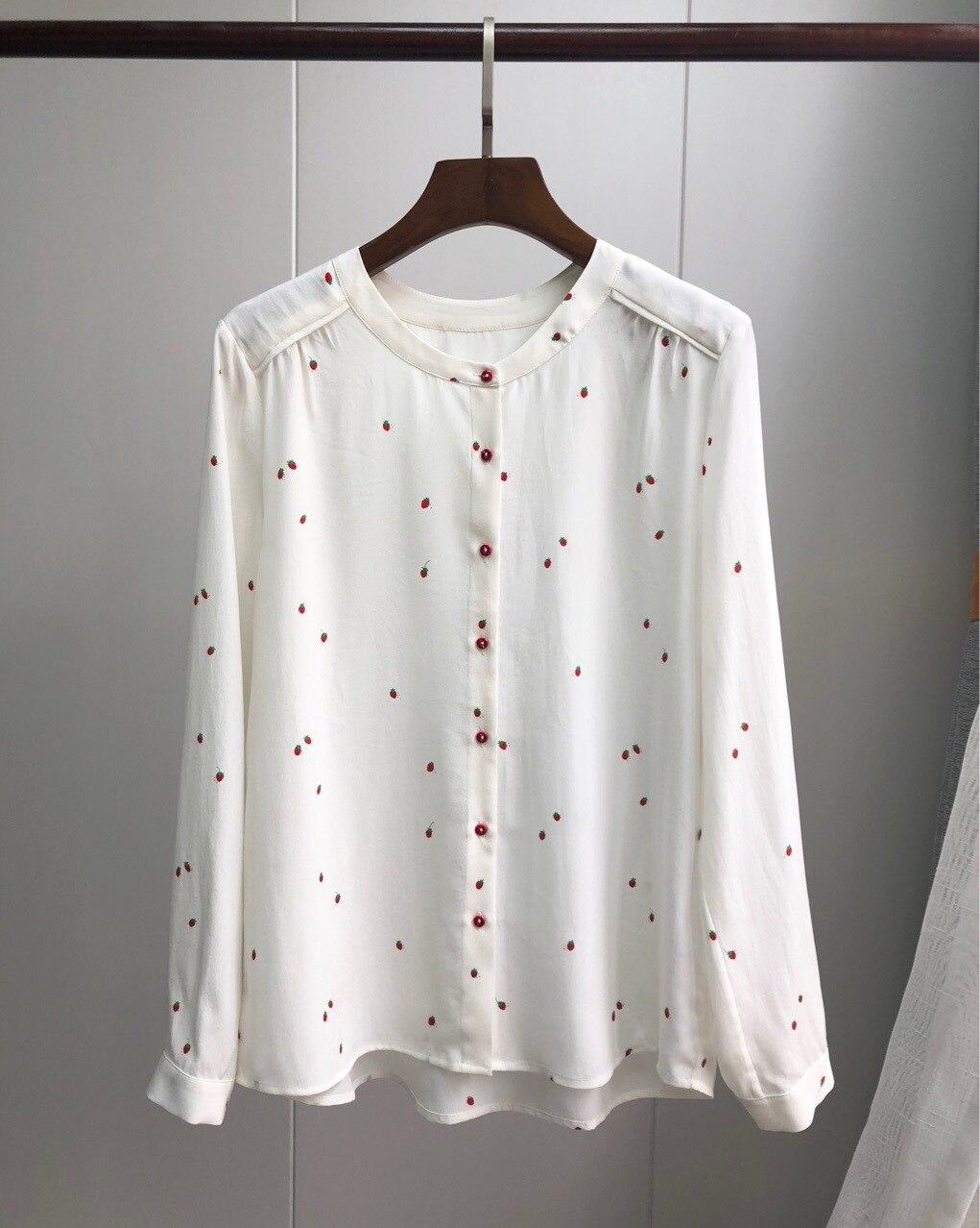 딸기 긴팔 실크 셔츠 2019 이른 봄 프랑스의 연인 브랜드 신선하고 즐거운 모래 세척 실크 여성 셔츠-에서블라우스 & 셔츠부터 여성 의류 의  그룹 1