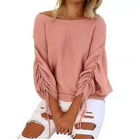 2017 Autumn And Winter New Casual Strapless Shoulder Sweater Women Shirt