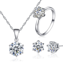 KobitAce Necklace pendant earrings set for woman Wedding Jewelry Set Silver Color Cubic Zircon love Necklace