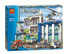 2016 Bela  10424 890pcs City Police Station building blocks Action Figures set helicopter jail cell Compatible with Legoe Gift