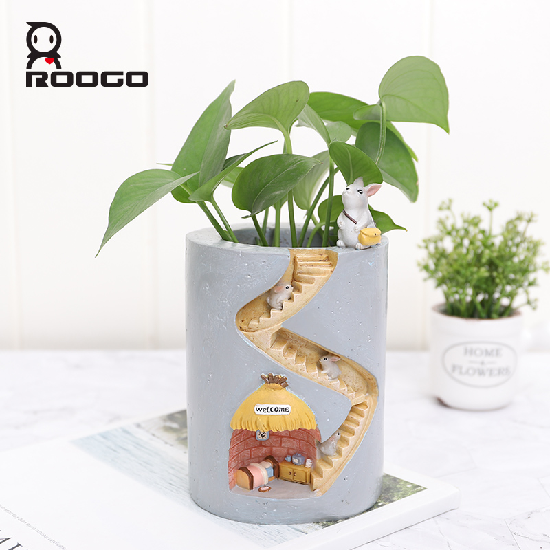 Image 1 - Roogo Resin Home Garden Flower Pot Succulent Planter Pots Outdoor Flowerpot For Balcony Decoration Home Desktop Pen Holder Decor-in Flower Pots & Planters from Home & Garden