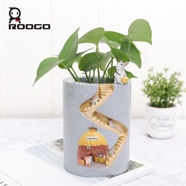 Roogo Resin Home Garden Flower Pot Succulent Planter Pots Outdoor Flowerpot For Balcony Decoration Home Desktop Pen Holder Decor