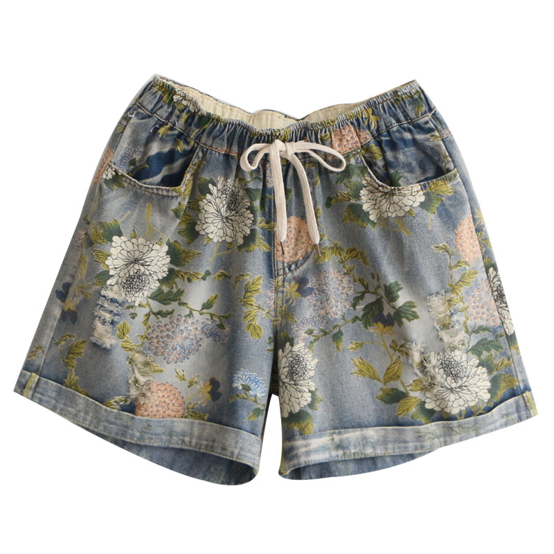 High Waist  Ripped Denim Shorts Women Summer Casual Floral Print Cotton Jeans Summer Feminino Short Pants