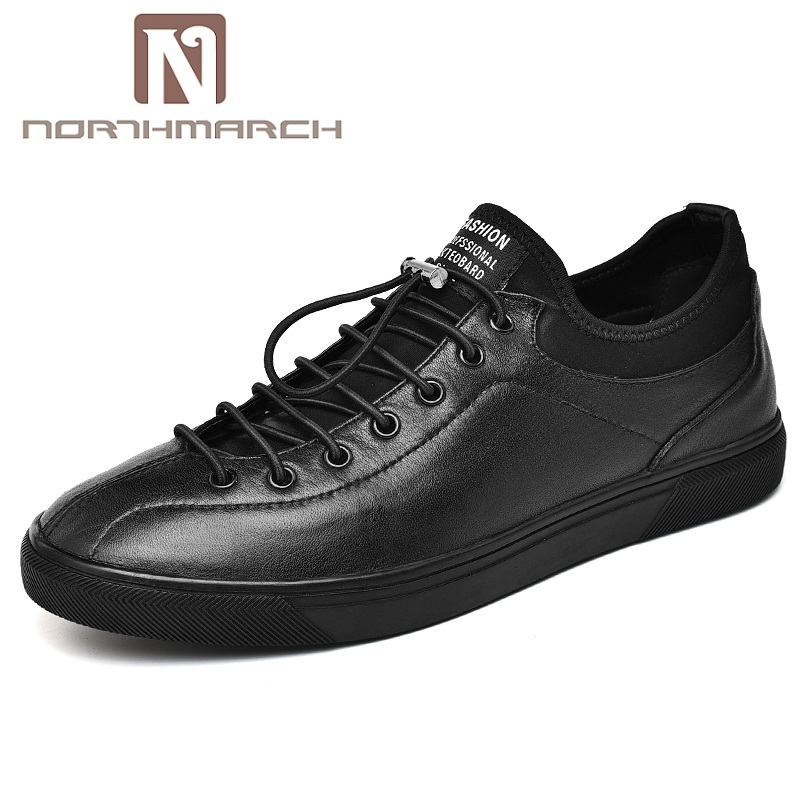 NORTHMARCH Genuine Leather Men Casual Shoes British Style Lace Up Trainers Flats Fashion Designer Breathable Men Shoes Sneakers northmarch brand genuine leather men casual shoes fashion style leather men shoes designer casual shoes for sneakers men summer