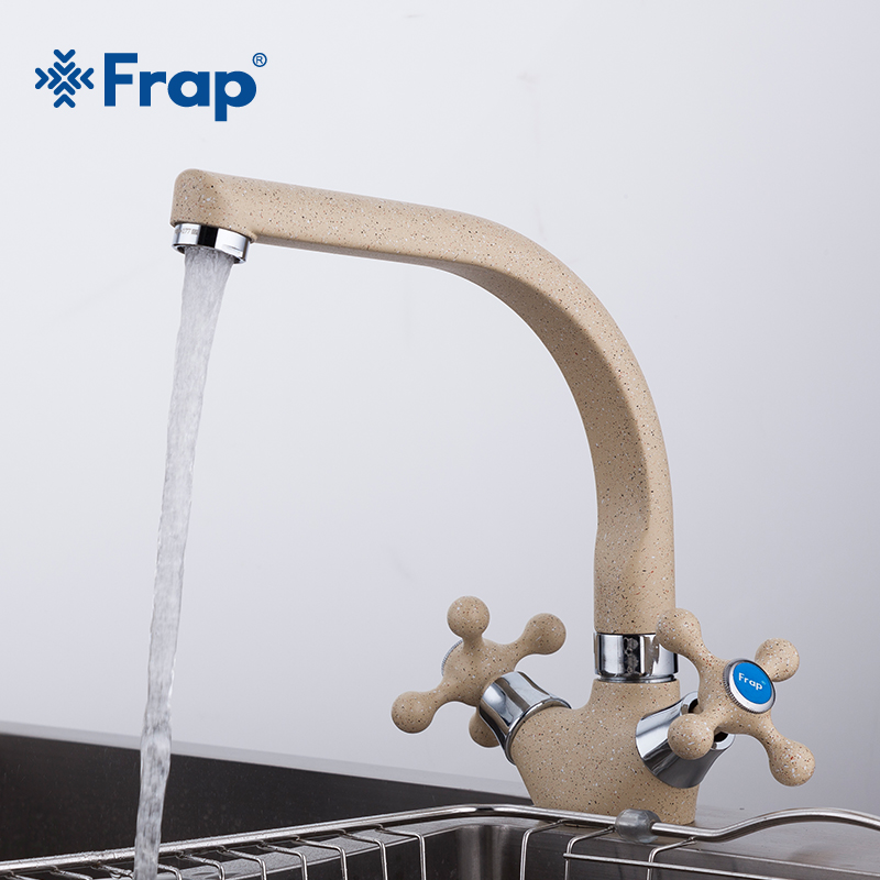 Frap NEW Multicolor Spray painting Kitchen sink Faucet Cold and Hot Water Mixer Tap Double Handle 360 Rotation F5408-7/8/10/21