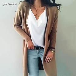 Женский длинный кашемировый свитер yinlinhe, цвета хаки, однотонный вязанный кардиган с длинным рукавом и карманами, зимнее кимоно, модель 737, 2019