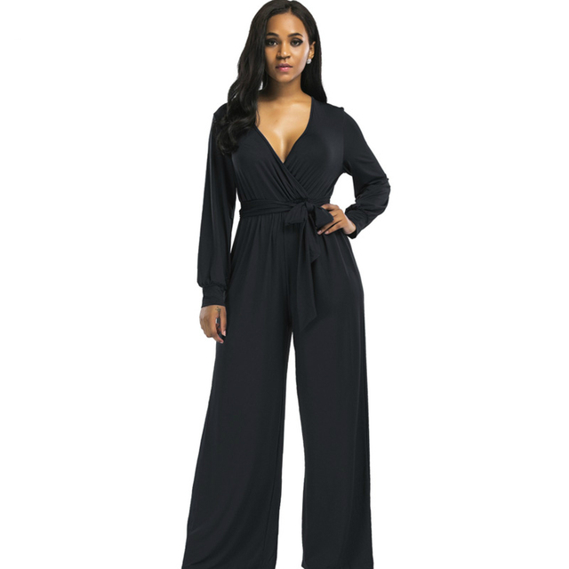 bdd9e0ab6a0 Fashion long jumpsuits 2018 autumn winter black bule wide leg loose sashes  trousers Casual Party Elegant women rompers overalls