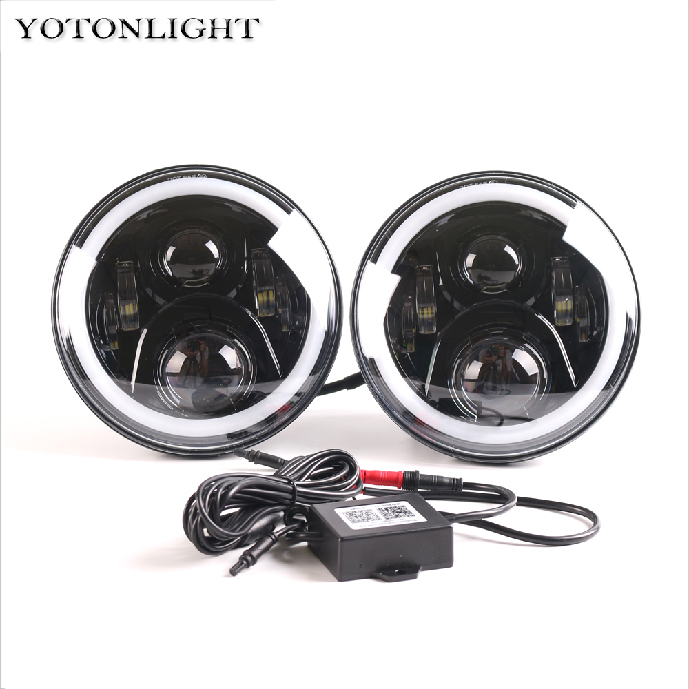 Wrangler 90W 7 inch Led Headlight RGB DRL Halo Ring Round Angel Eyes Off Road with Multicolor Bluetooth Remote Control for JEEP