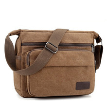 Canvas Shoulder Bag Preppy Style 100% Cotton Solid Messenger Contracted Joker More Zippers Crossbody School for Boy
