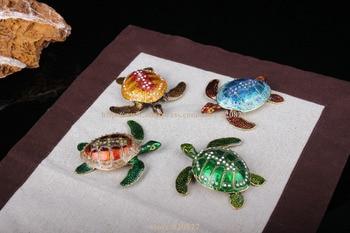 Trinket Turtle Shape Jewelry Box Turtle Trinket Jewelry Box with Sparkling Crystals Turtle Collectible Crafts great gifts turtle big trinket box turtles tortoise hinged trinket box pewter turtle ring keepsake box 14 11 5 5 cm l w h