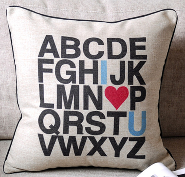 Modern Initial A to Z Heart I Love You Decorative Pillow Case Cushion Cover Sham shannon nicole wells to tame a heart