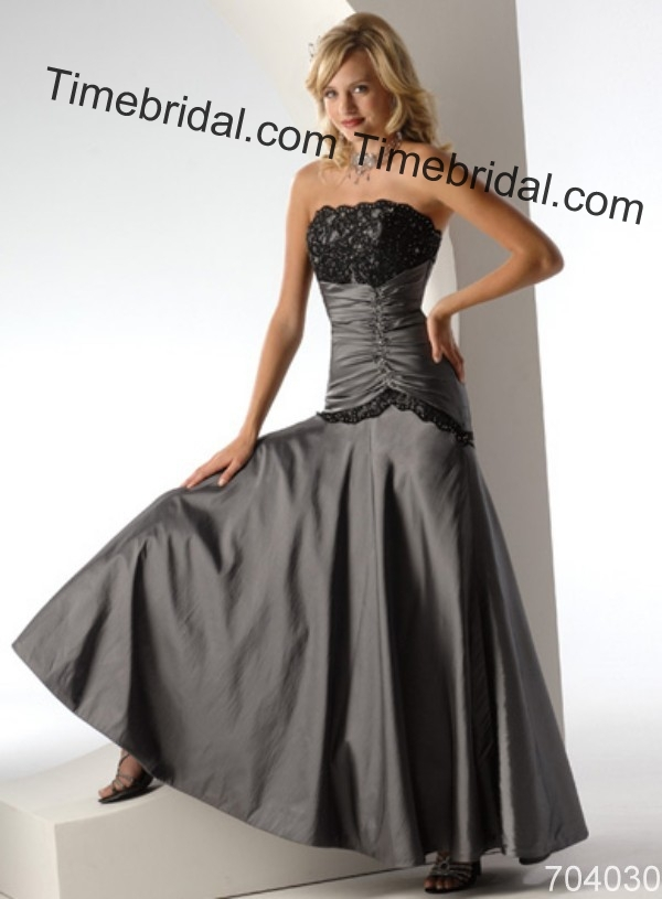 Slivergrey Black Lace Floor Lenght Sleeveless Sexy Wedding Dress