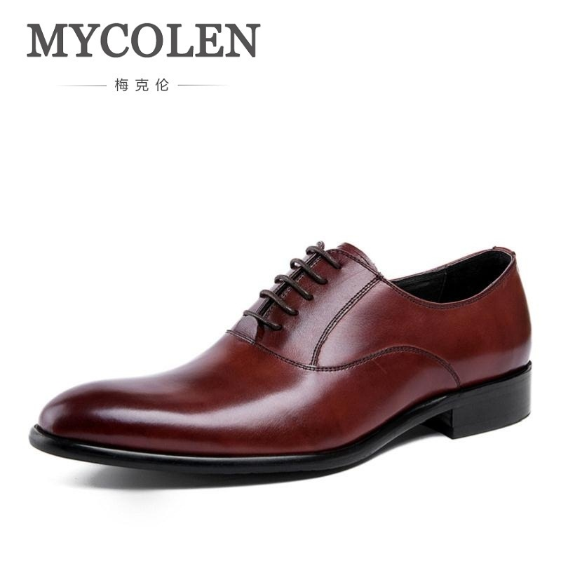 MYCOLEN Brand High Top Vintage Men Dress Shoes Genuine Leather Lace-up Wedding Business Office Shoes Men Chaussures De MariageMYCOLEN Brand High Top Vintage Men Dress Shoes Genuine Leather Lace-up Wedding Business Office Shoes Men Chaussures De Mariage