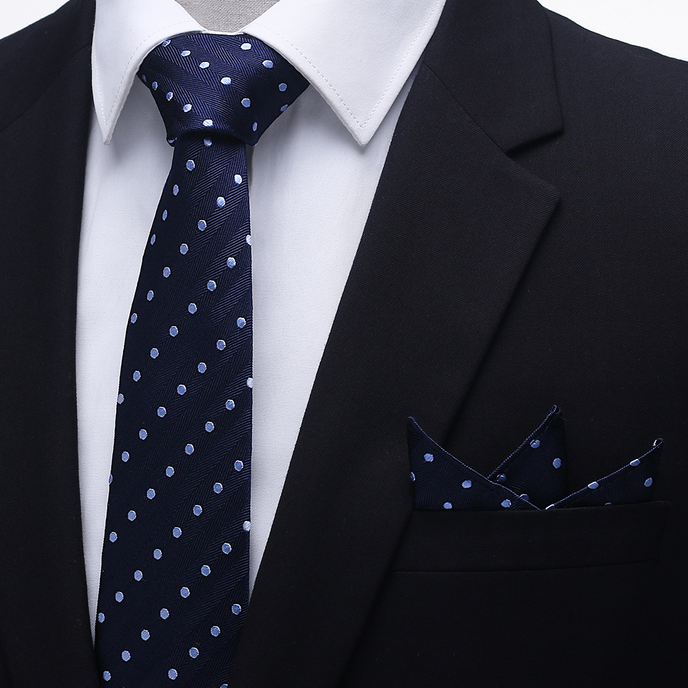 Tailor Smith Necktie Set with Pocket Square Silk Woven Navy Blue - Apparel Accessories - Photo 2