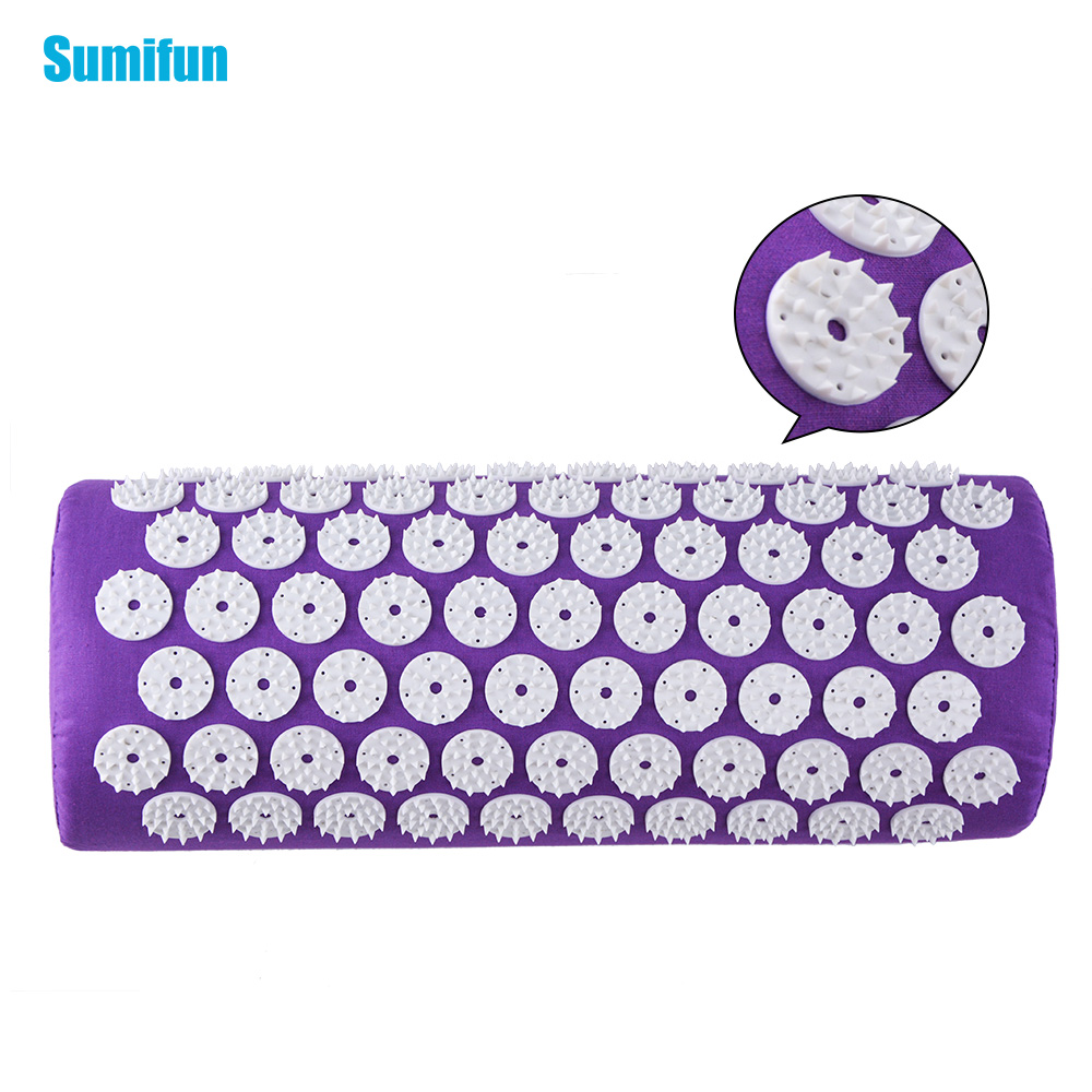 Povihome Acupuncture Massager Pillow Cushion Acupressure Spike Yoga Pillow for Relieve Stress Pain Relief  Purple C11509 povihome 1set massage cushion acupressure therapy mat relieve stress pain relief acupuncture spike yoga mat with pillow d06874