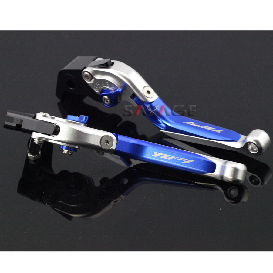 ФОТО For YAMAHA YZFR1 YZF-R1 2004-2008 05 06 07 Blue+Silver Motorcycle Adjustable Folding Extendable Brake Clutch Lever Logo YZF R1