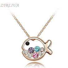 Hot New Korean Fashion Simple Jewelry Austrian Crystal High-grade Small Fish Princess Clavicle Chain Pendant Necklace C21