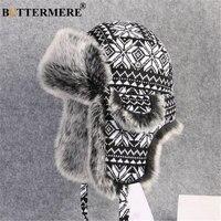 BUTTERMERE шапка-ушанка из русского меха, черно-белые шапки-бомберы для мужчин и женщин, Зимняя Толстая теплая вязаная шапка-ушанка