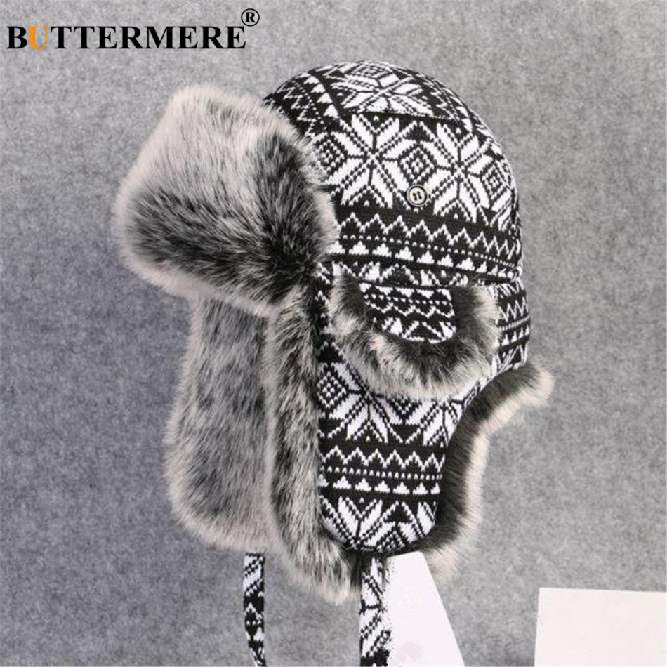 BUTTERMERE Russian Fur Hat Ushanka Black White Bomber Hats Male Female Ear Flaps Winter Thick Warm Knitting Outdoor Trapper Hat