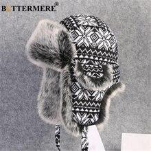 BUTTERMERE Russische Pelzmütze Uschanka Schwarz Weiß Bomber Hüte Männlich weibliche Ohr Klappen Winter Dicke Warme Stricken Outdoor Trapper Hut