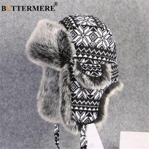 Image 1 - BUTTERMERE רוסית פרווה כובע Ushanka שחור לבן כובעי מפציץ זכר נקבה אוזני כלב חורף עבה חם סריגה חיצוני הצייד כובע