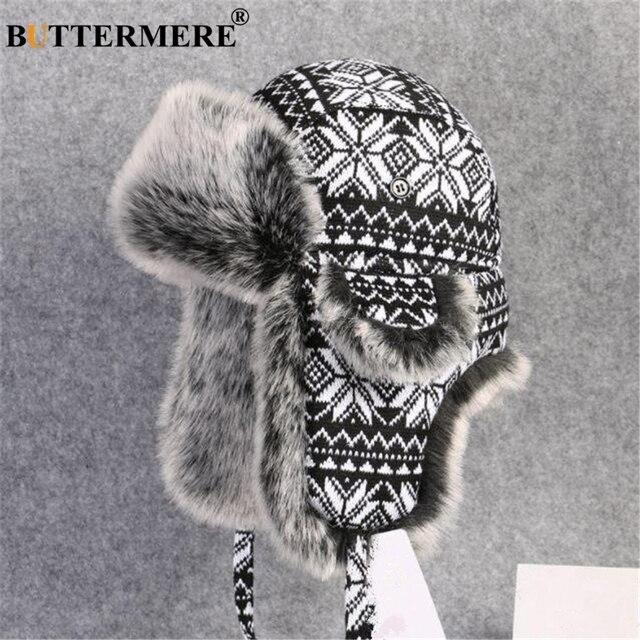 BUTTERMERE רוסית פרווה כובע Ushanka שחור לבן כובעי מפציץ זכר נקבה אוזני כלב חורף עבה חם סריגה חיצוני הצייד כובע