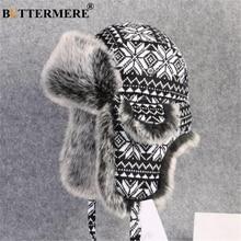 BUTTERMERE rus kürk şapka Ushanka siyah beyaz bombacı şapka erkek kadın kulak Flaps kış kalın sıcak örme açık Trapper şapka