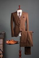 2017 New In stock Best man suit Fashion classic Groom Tuxedos Business Brown Suit Wedding Suits Men Bridegroom Blazer 3 piece
