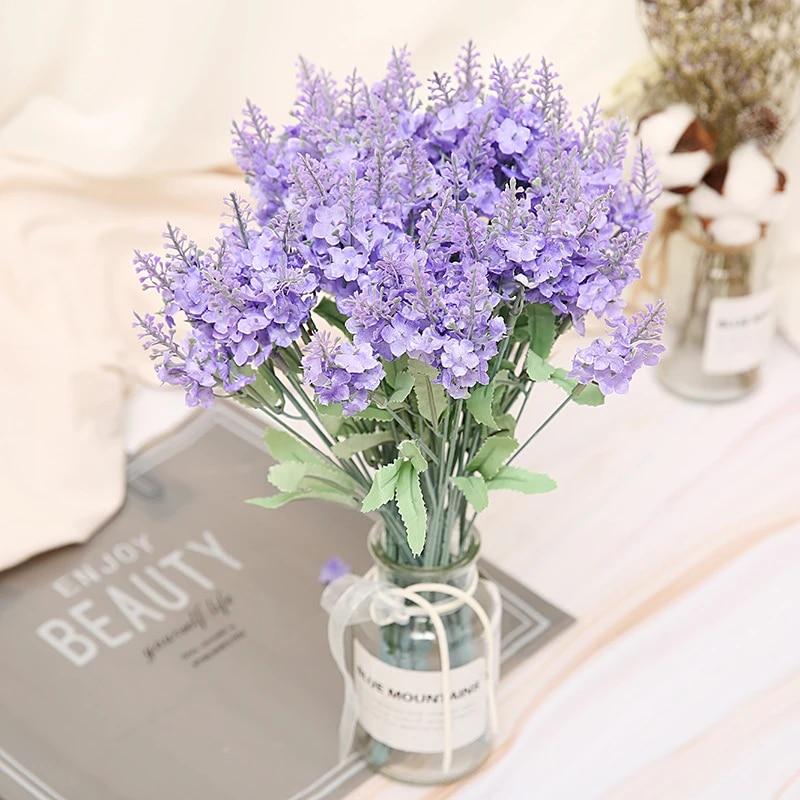 10 Heads Bouquet Artificial Lavender Fake Silk Flowers Wedding Home Party Decor