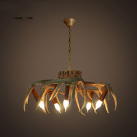 קרן צבי נברשת תאורה עבור אמריקאי חדר שינה סלון רטרו צבי שרף זוהר de cristal אור מנורות קישוט הבית