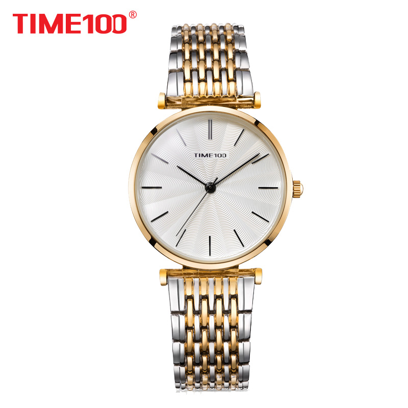 TIME100 2018 new Women Quartz Watches Analog Steel Mesh Strap Bracelet Watch for women Waterproof relogio feminino  kol saati julius quartz watch ladies bracelet watches relogio feminino erkek kol saati dress stainless steel alloy silver black blue pink