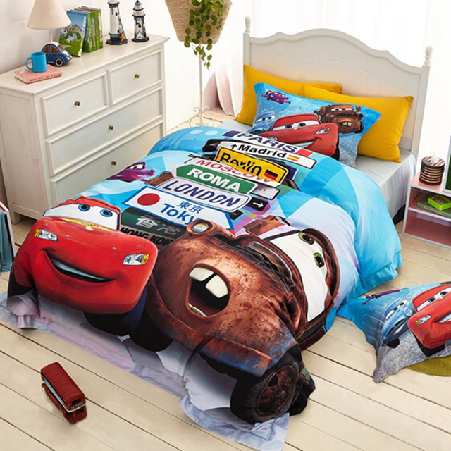 Lightning Mcqueen Cars Printed Bedding Sets 100 Cotton Bedspread Quilt Duvet Covers Bed Sheet