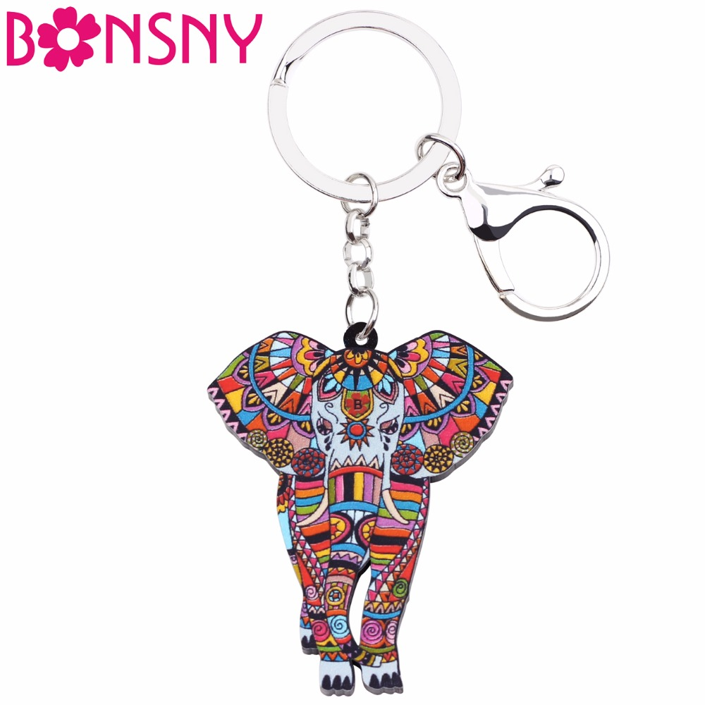 Bonsny Acrylic Jungle Elephant Key Chains Keychains Rings Unique Animal Jewelry Holder For Women Girls Bag Car Charms Gift Party