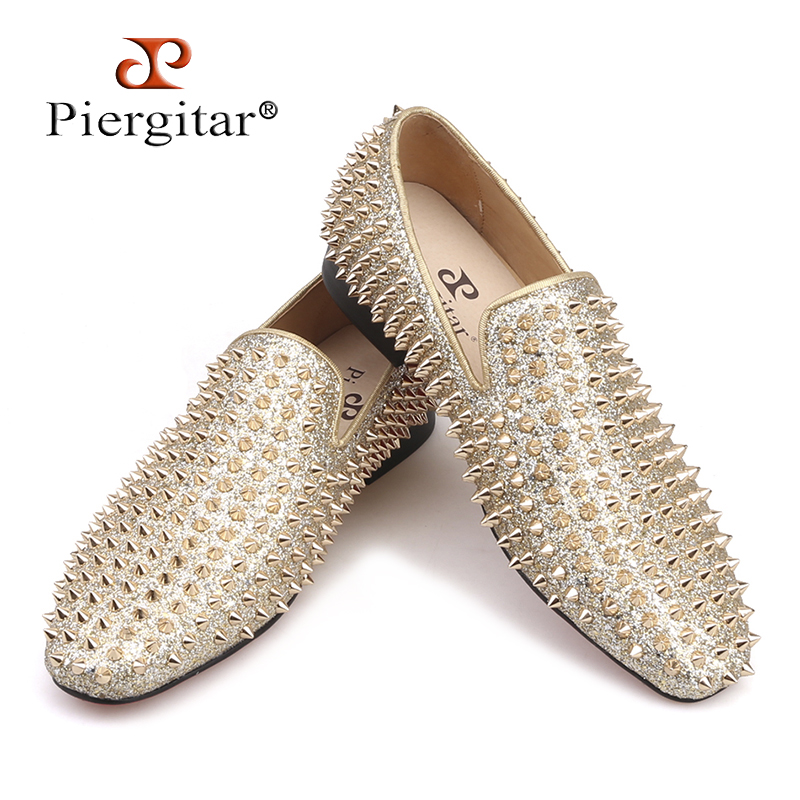 Piergitar 2019 Handmade spikes men shoes luxurious men   leather   loafers Fashion Party and wedding men's casual shoes plus size