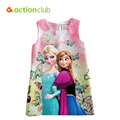 2016 New Girls Dress Anna Elsa Dresses Floral Print Sleeveless Princess Party Clothes Summer Style For Baby Girls Clothing KD538