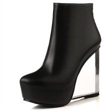 Big size 33-41 Fashion crystal high heels Wedges Spring Autumn Shoes Women Ankle Boots genuine leather Short Motorcycle Boots
