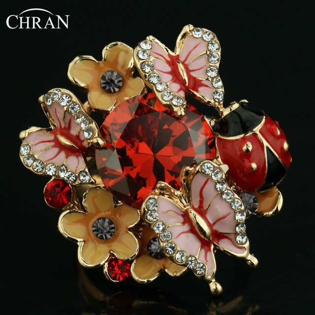 CHRAN Gold Color Ladybug Designer Zircon Jewelry Rings Wholesale Crystal Enamel