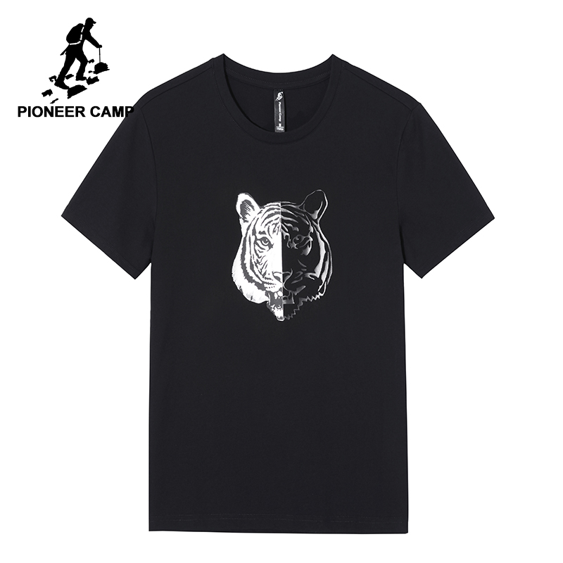 Pioneer Camp Men T Shirt New 2017 Cotton Simple Print: Pioneer Camp Tiger Printing Summer T Shirt Men Brand