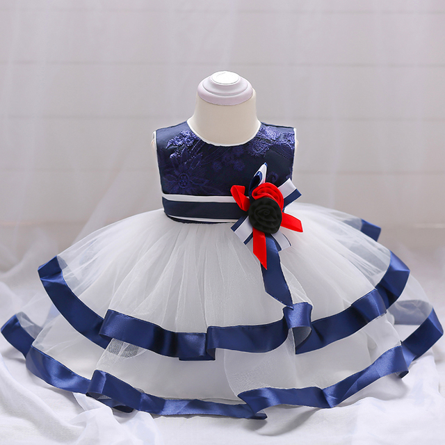 9d8be2ef1ed7c US $21.28 44% OFF 2018 Baby Girls 1st Birthday Party Dress Baby Infant Blue  Striped Cake Princess Dress Children Clothing Kids Ball Gown Dresses-in ...