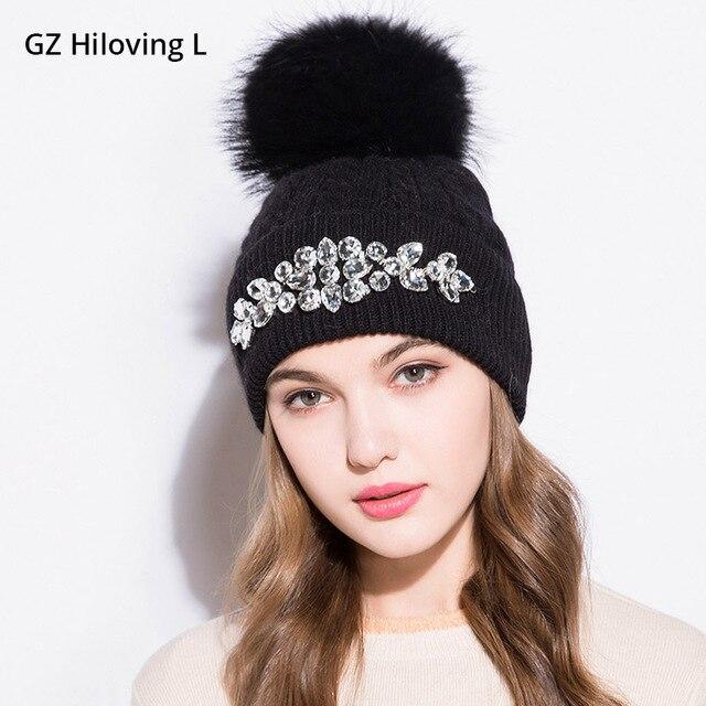 GZHilovingL 2017 Nuevo de alta diamantes de invierno gorros sombreros para  mujer chicas de lana suave 93ba08f06412