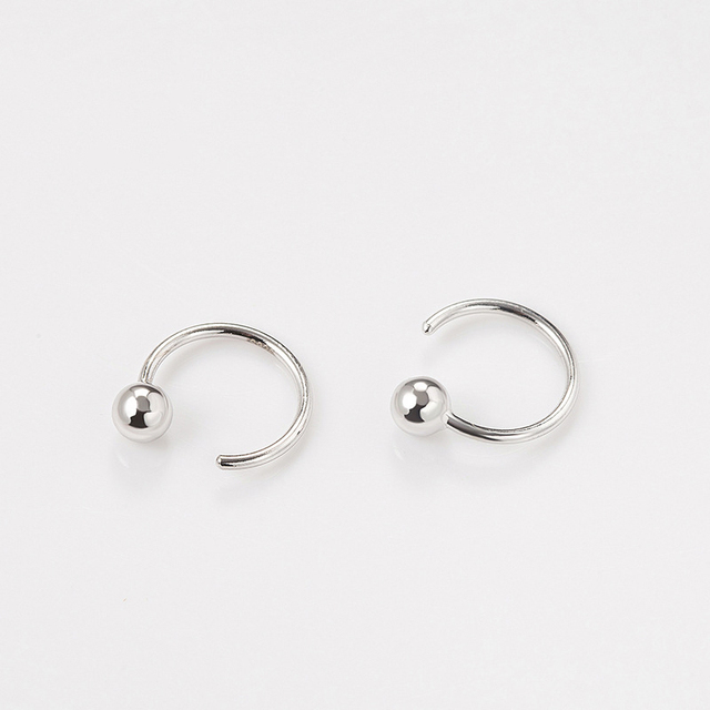 925 Sterling Silver Geometric Light bead Hoop Earrings