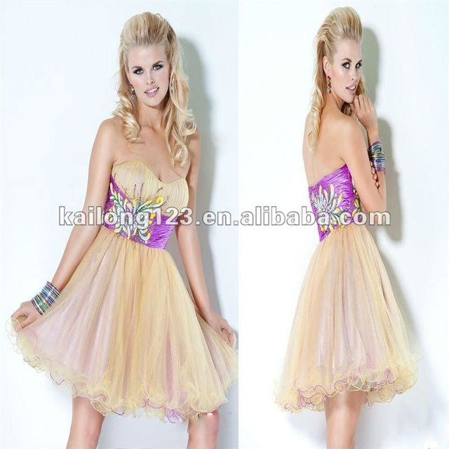 949e74ab5 Cute Sweetheart Short Ball Gown Yellow Purple Tulle Satin Flower Beading  Homecoming Dress