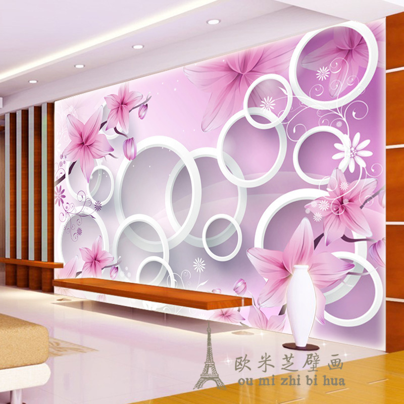 Beibehang Daydream Simple Personality Flower 3d Circle Wallpaper Bedroom Living Room Sofa Tv Wall Background Wallpaper Murals