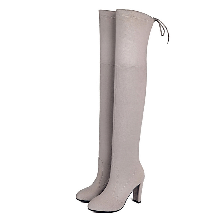 Womens Boots Micro Suede Thigh High Boots Block Thick Heel Stretch Over the Knee Boots for Woman Plus Size suede chunky heel womens thigh high boots