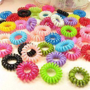 30pcs Mulit-color Telephone Wire Cord Girl Elastic Ring  Head Tie Hair Rope Hair Accessories Hair Styling Tools Braids Wholesale Karachi