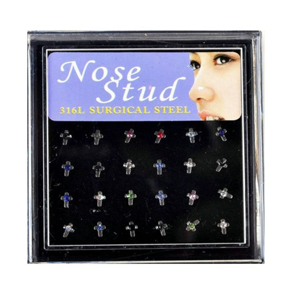 2 5mm Rhinestone Nose Piercings 20g Stainless Steel Nose Studs