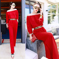 With Belt! 2016 New Autumn Chiffon Wide Leg Women Jumpsuit Overalls Long Sleeve jumpsuit Plus Size Woman Rompers Work wear Red